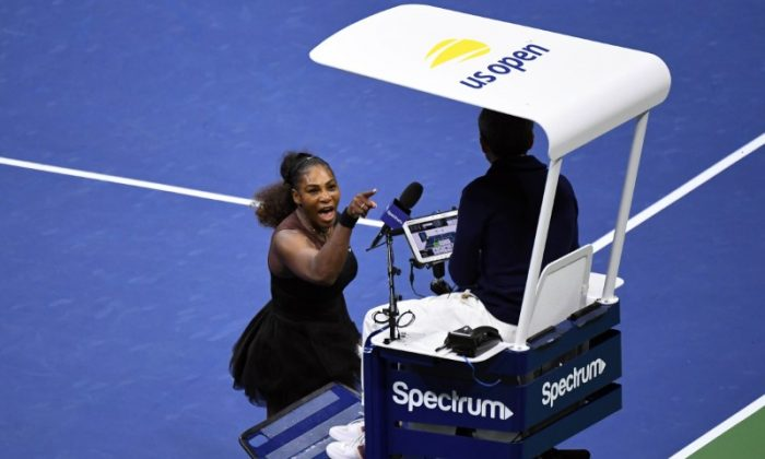 Serena Williams of the United States yells at chair umpire Carlos Ramos in the women's final against Naomi Osaka of Japan on day thirteen of the 2018 U.S. (Danielle Parhizkaran-USA TODAY SPORTS)