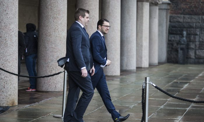 Jimmy Akesson, leader of the Sweden Democrats (R), attends the city of Stockholm's official ceremony for the victims of the recent terrorist attack on April 10, 2017 in Stockholm, Sweden. (Michael Campanella/Getty Images)
