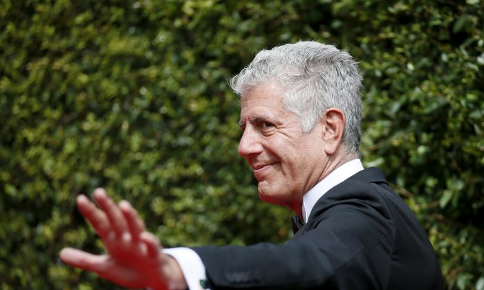 Chef Anthony Bourdain poses at the 2015 Creative Arts Emmy Awards in Los Angeles, California, on Sept. 12, 2015. (Danny Moloshok/Reuters)