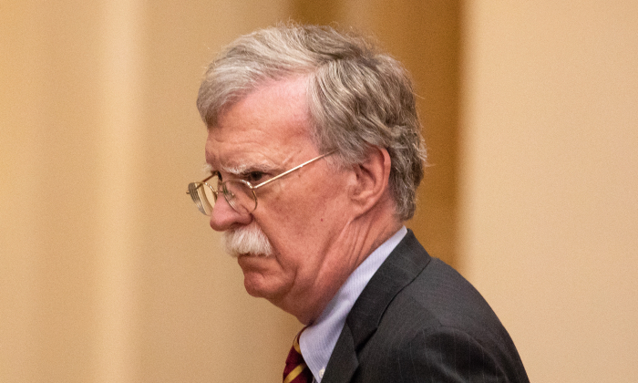 National Security Advisor John Bolton attends a joint press conference with President Donald Trump and the Russian President Vladimir Putin at the Presidential Palace in Helsinki, Finland, on July 16, 2018. (Samira Bouaou/The Epoch Times)