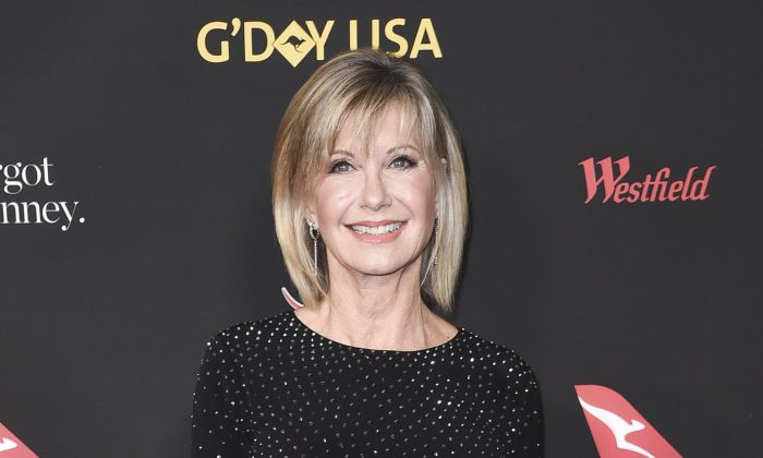 Olivia Newton-John attends the 2018 G'Day USA Los Angeles Gala at the InterContinental Hotel Los Angeles, on Jan. 27, 2018. (Richard Shotwell/Invision/AP)