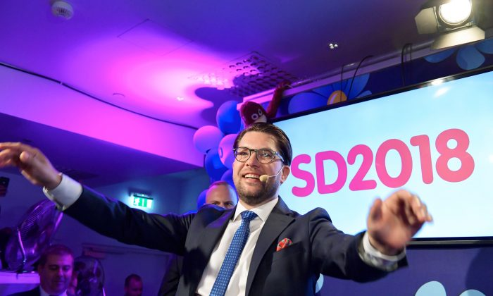 Jimmie Akesson of the Sweden Democrats speaks at the election party at the Kristallen restaurant in central Stockholm on Sept. 9, 2018. (Anders Wiklund/AFP/Getty Images)