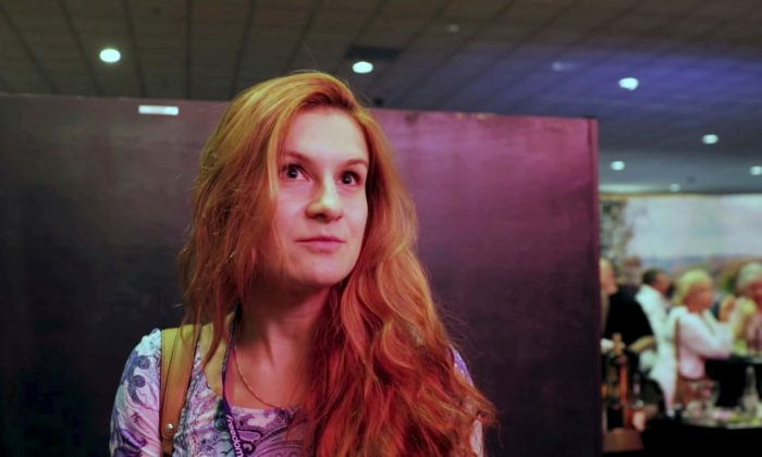 Accused Russian agent Maria Butina speaks to camera at 2015 FreedomFest conference in Las Vegas, Nevada, on July 11, 2015. (FreedomFest/Reuters)