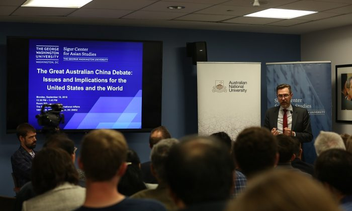 """Professor Rory Medcalf, head of the National Security College at the Australian National University in Canberra, giving a speech entitled """"The Great Australian China Debate: Issues and Implications for the United States and the World"""" at George Washington University in Washington on Sept. 10, 2018. (Jennifer Zeng/The Epoch Times)"""