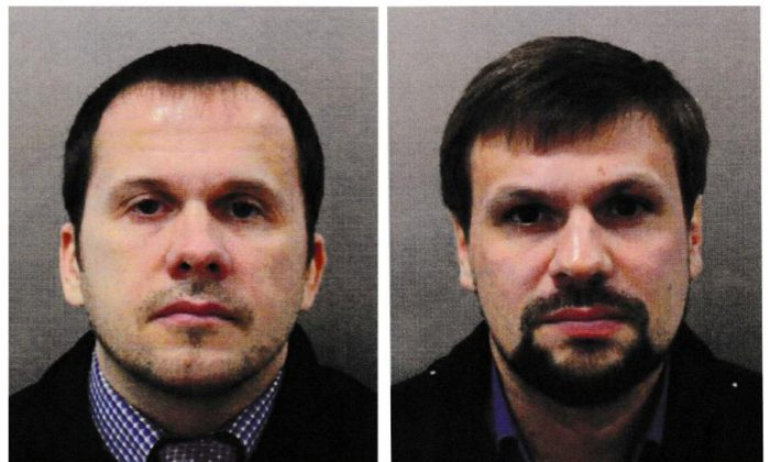 The men known as Alexander Petrov (L) and Ruslan Boshirov have been accused of attempting to murder former Russian intelligence officer Sergei Skripal and his daughter Yulia in Salisbury, in an image handed out by police in London on Sept. 5, 2018. (Metropolitan Police handout via Reuters/File Photo)