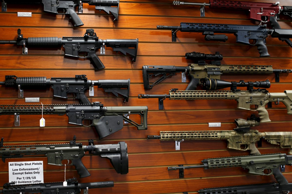 Firearms are shown for sale