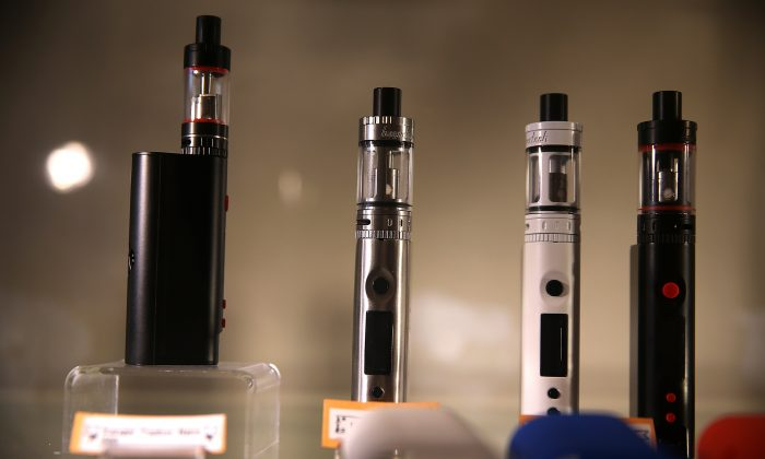 E-cigarettes are displayed at Gone With the Smoke Vapor Lounge on May 5, 2016 in S.F., Calif. (Photo by Justin Sullivan/Getty Images)