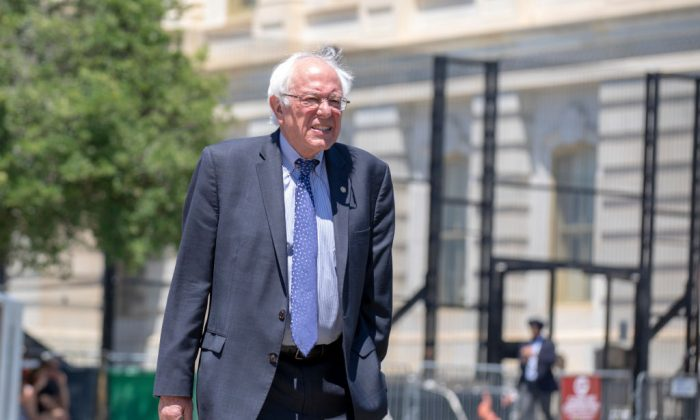Sen. Bernie Sanders (I-Vt.) arrives at a news conference at the U.S. Capitol in Washington, on July 10, 2018. (Alex Edelman/Getty Images)