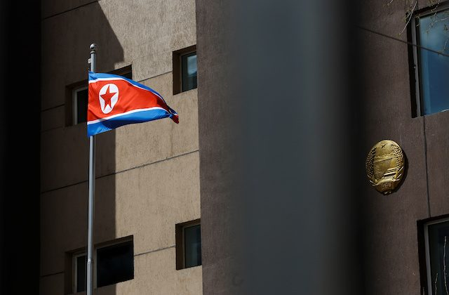 The North Korean flag flies outside the country's embassy in Ulaanbaatar, Mongolia, April 30, 2018. (Reuters/Thomas Peter)