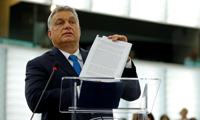 Hungarian Prime Minister Viktor Orban addresses MEPs during a debate on the situation in Hungary at the European Parliament in Strasbourg, France on Sept. 11, 2018. (Vincent Kessler/Reuters)