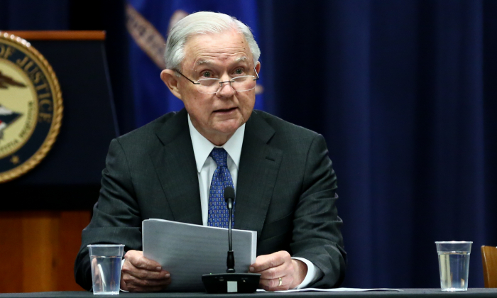 Attorney General Jeff Sessions at the Department of Justice in Washington on Aug. 28, 2018. (Charlotte Cuthbertson/The Epoch Times)