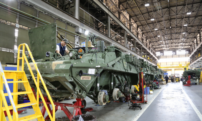 Anniston Army Depot employees test components of Stryker vehicles recently overhauled at the installation. The depot is one of 23 geographically-dispersed facilities that comprise the Army Organic Industrial Base, which manufacture and reset the Army's and joint service equipment. (Photo Credit: U.S. Army photo)