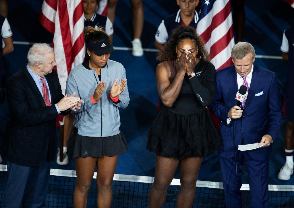 Serena Williams reacts after losing to Naomi Osaka