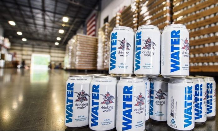 Cans of water manufactured by Anheuser-Busch will be provided in disaster relief efforts ahead of Hurricane Florence. (Courtesy of Anheuser-Busch)