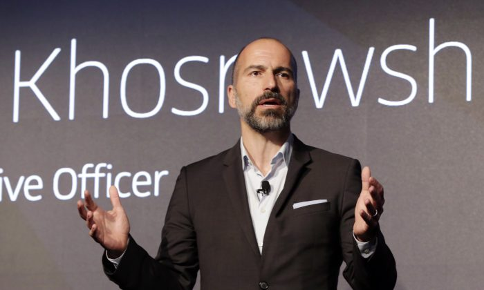 Uber CEO DaraKhosrowshahispeaks in New York on Sept. 5, 2018. Uber is aiming to boost driver and passenger safety in an effort to rebuild trust in the brand. (AP Photo/Richard Drew)
