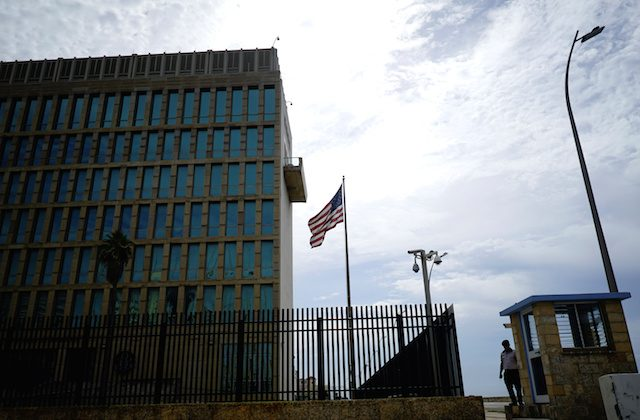 A security officer stands next to the U.S. Embassy in Havana, Cuba, on June 8, 2018. (Alexandre Meneghini/Reuters)