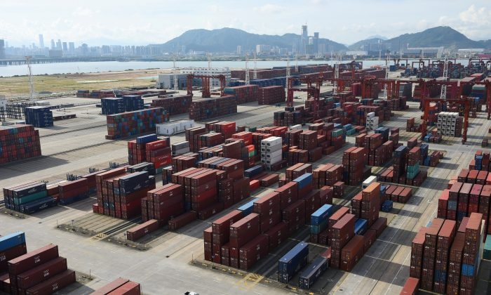 Shipping containers at the Dachan Bay Terminals in Shenzhen City, Guangdong Province, China, on July 12, 2018. (Stringer/Reuters)