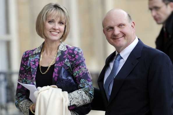 Microsoft's CEO, Steve Ballmer (R),arrives with his wife Connie at the Elysee Palace on Feb. 16, 2011 in Paris, where he is to be awarded with the Legion of Honor by French president. (ERIC FEFERBERG/AFP/Getty Images)