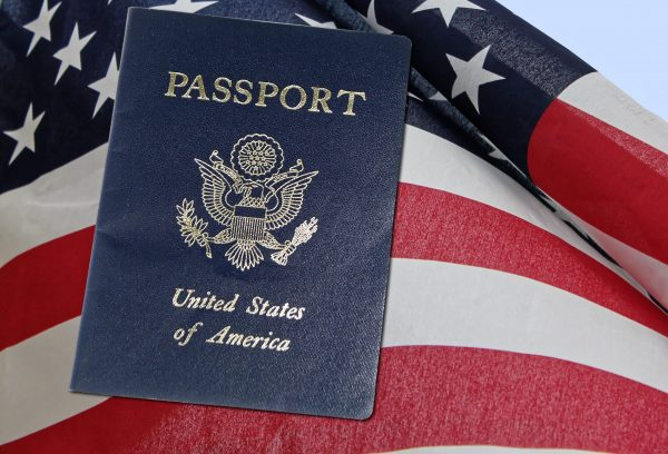US passport is with flag