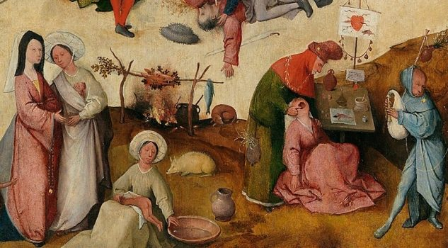 """A detail from """"The Haywain"""" where people pursue everyday activities."""