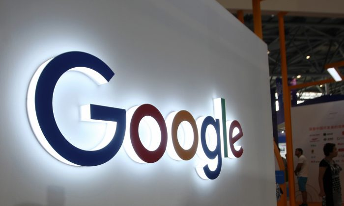 The Google logo at the Smart China Expo at Chongqing International Expo Center in Chongqing, China, on Aug. 23, 2018. (STR/AFP/Getty Images)