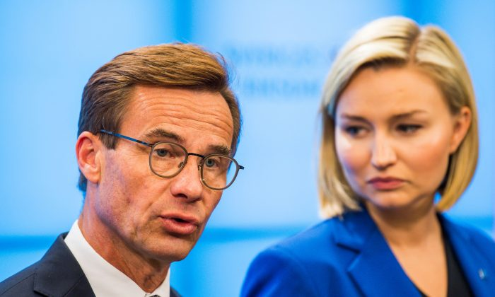 Ulf Kristersson (L), leader of the Moderate Party in Sweden, speaks at a press conference at the Swedish Parliament on Sept. 12, 2018, following the Sept. 9 general election. (Jonathan Nackstrand/AFP/Getty Images)
