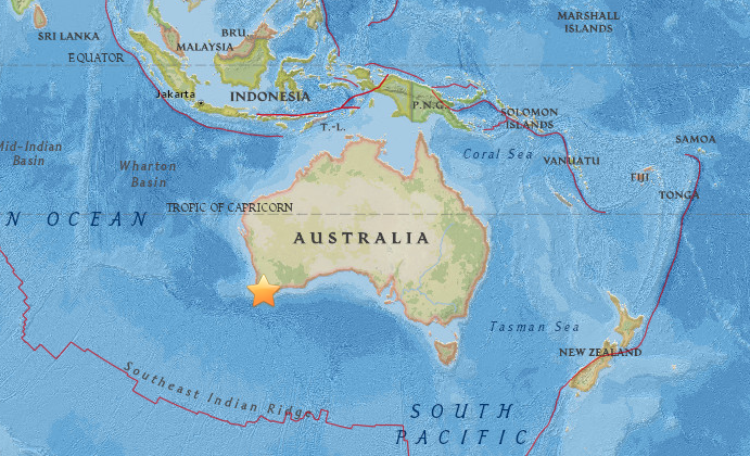 5.3 magnitude earthquake rattles residents in south west Western Australia on Sept. 16, 2018. (USGS)