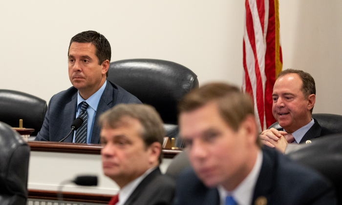 Rep. Devin Nunes chairs a Permanent Select Committee on Intelligence hearing in Washington on May 17, 2018. (Samira Bouaou/The Epoch Times)