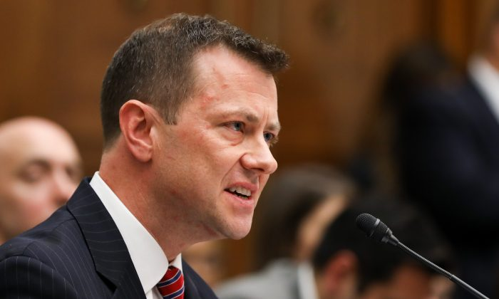 "FBI Deputy Assistant Director Peter Strzok testifies at the Committee on the Judiciary and Committee on Oversight and Government Reform Joint Hearing on, ""Oversight of FBI and DOJ Actions Surrounding the 2016 Election"" in Washington on July 12, 2018. (Samira Bouaou/The Epoch Times)"