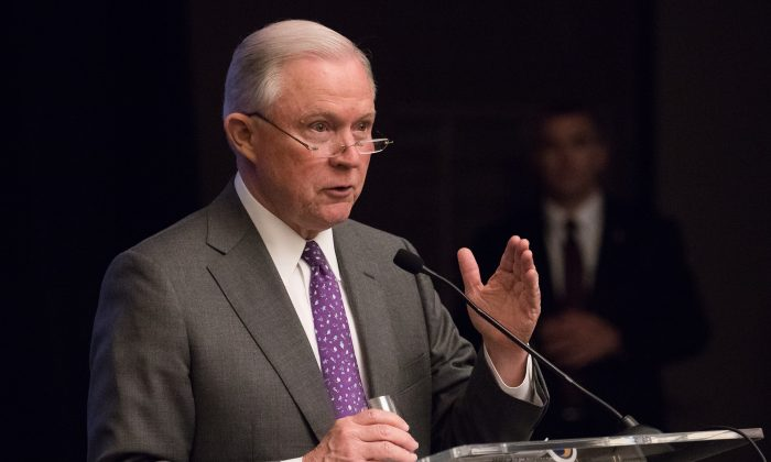 Attorney General Jeff Sessions speaks in Washington on May 3, 2018. (Samira Bouaou/The Epoch Times)