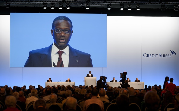 Credit Suisse CEO Tidjane Thiam delivers a speech during an extraordinary shareholders meeting of the Swiss banking group on Nov. 19, 2015 in Bern.  (FABRICE COFFRINI/AFP/Getty Images)