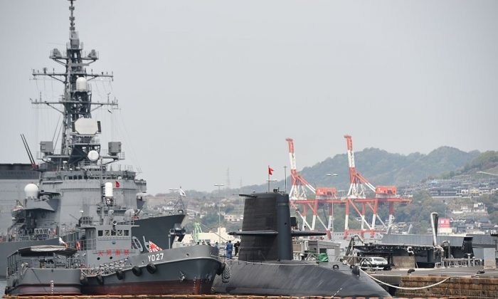 A Japan Maritime Self Defence Forces submarine is moored at a pier in Kure, Hiroshima prefecture in Japan on April 12, 2016. (Toshifumi Kitamura//AFP/Getty Images)