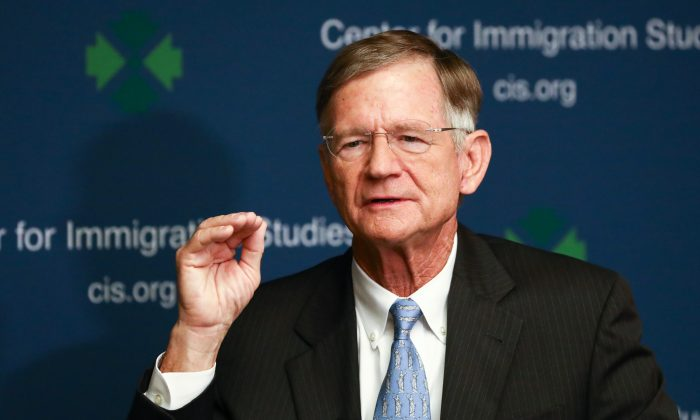 Rep. Lamar Smith (R-Texas) speaks at an immigration event hosted by Center for Immigration Studies in Washington on Sept. 5, 2018. (Charlotte Cuthbertson/The Epoch Times)