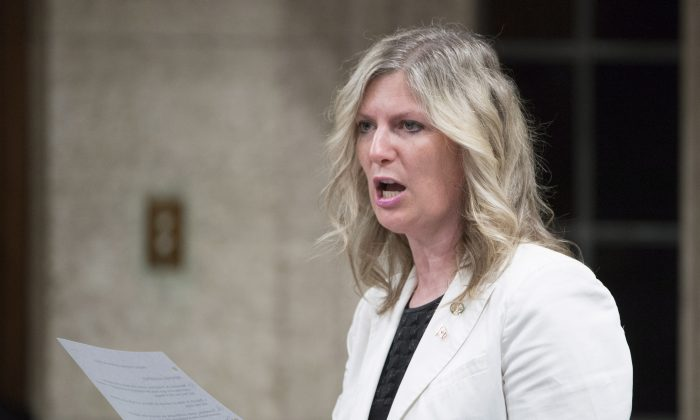 MP Leona Alleslev rises in the House of Commons in Ottawa on June 17, 2016. (The Canadian Press/Adrian Wyld)