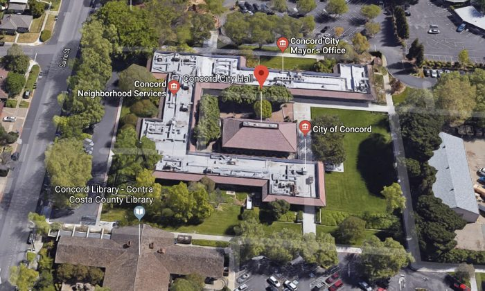 Concord City Hall. 1950 Parkside Dr, Concord, CA 94519. (Map data @2018 Google)