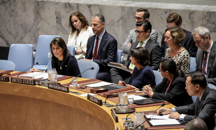 U.S. Ambassador to the U.N. Nikki Haley speaks during a meeting of the United Nations Security Council at UN headquarters, Sept. 17, 2018 in New York City.(Drew Angerer/Getty Images)