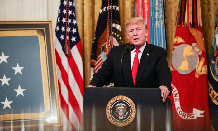 President Donald Trump delivers remarks at the Congressional Medal of Honor Society Reception in the East Room at the White House in Washington on Sept. 12, 2018. (Samira Bouaou/The Epoch Times)