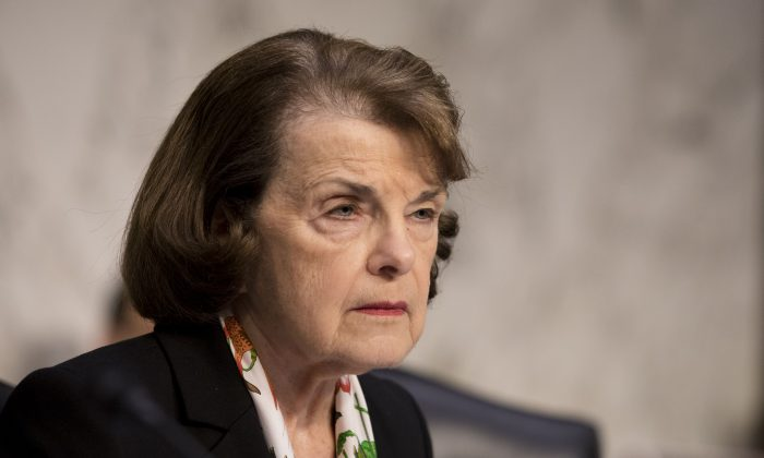 Ranking member Sen. Dianne Feinstein (D-CA) during a hearing about the massacre at Marjory Stoneman Douglas High School in the Hart Senate Office Building on Capitol Hill in Washington on March 14, 2018. (Samira Bouaou/The Epoch Times)