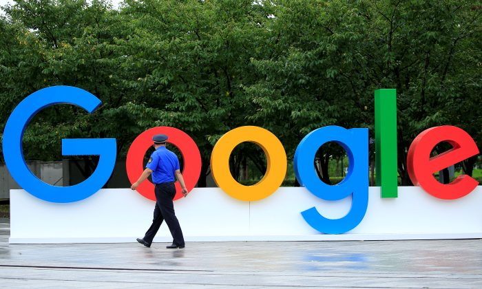 A Google sign is seen during the WAIC (World Artificial Intelligence Conference) in Shanghai, China, on Sept. 17, 2018. (Reuters/Aly Song)