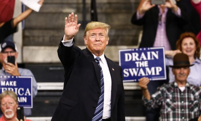 President Donald Trump at his Make America Great Again rally in Billings, Montana, on Sept. 6, 2018. (Charlotte Cuthbertson/The Epoch Times)