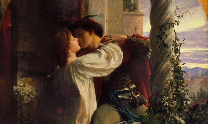 "A detail of ""Romeo and Juliet,"" 1884, depicted in oil on canvas by Frank Bernard Dicksee. Southampton City Art Gallery. (Public Domain)"