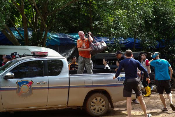British caver Vernon Unsworth gets out of a pickup truck