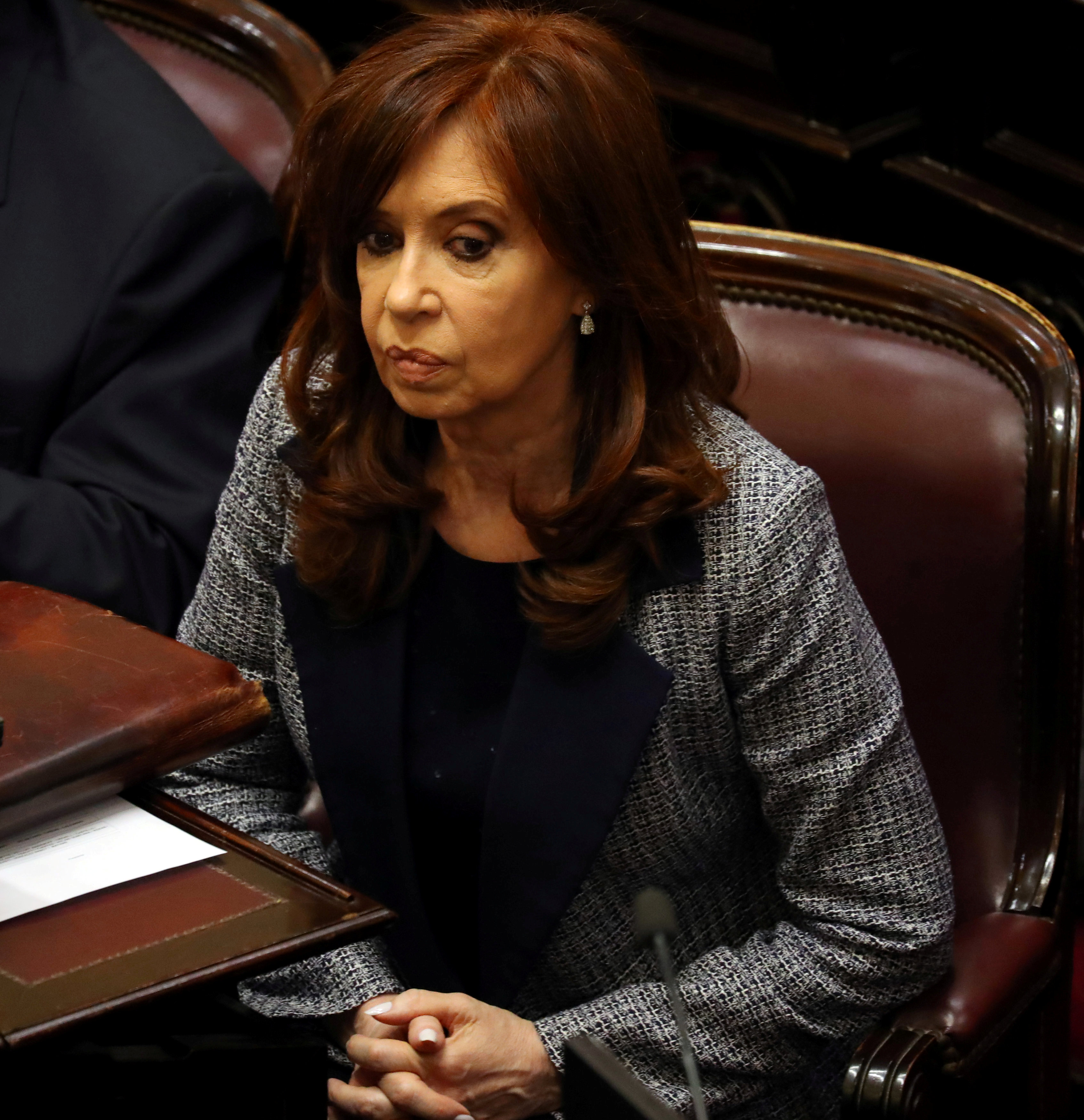 Former Argentine President attends a session at the Senate in Buenos Aires