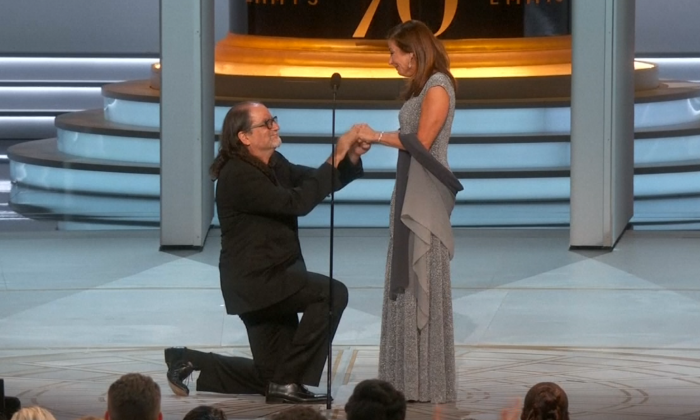 Emmy winner Glenn Weiss proposed on stage during the live broadcast in Los Angeles, at the Microsoft Theater on Sept. 17, 2018. (Screenshot/The Television Academy)