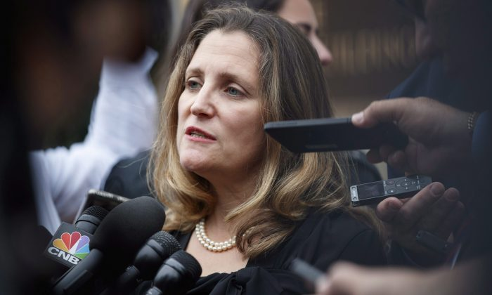 Foreign Affairs Minister Chrystia Freeland speaks to the media as she arrives at the Office of the United States Trade Representative in Washington on Sept. 11. (AP Photo/Carolyn Kaster)