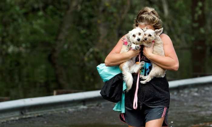Lisa Shackleford hugs her pet dogs Izzy (L) and Bella as she wades through flood waters to safety while the Northeast Cape Fear River breaks its banks in the aftermath Hurricane Florence in Burgaw, North Carolina, U.S., September 17, 2018. (Reuters/Jonathan Drake)