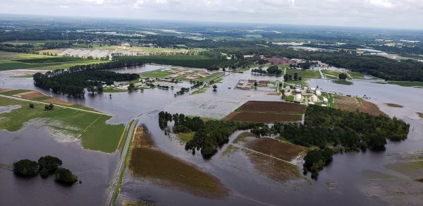 Aerial view of flooding in North Carolina