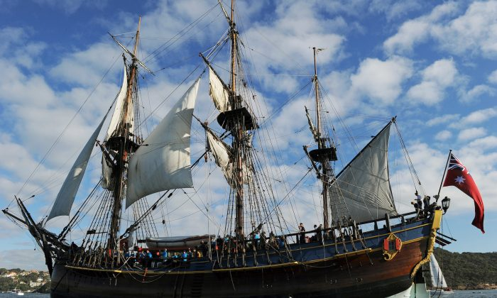 An Endeavour replica ship sails into Sydney Harbor on May 21, 2012. (Greg Wood/AFP/GettyImages)