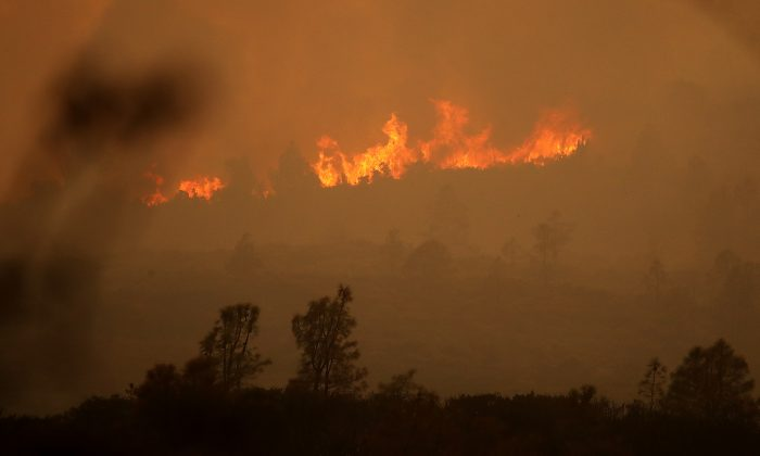 Flames from the Mendocino Complex fire burn a ridge near Lodoga, Calif. on Aug. 8, 2018. (Justin Sullivan/Getty Images)