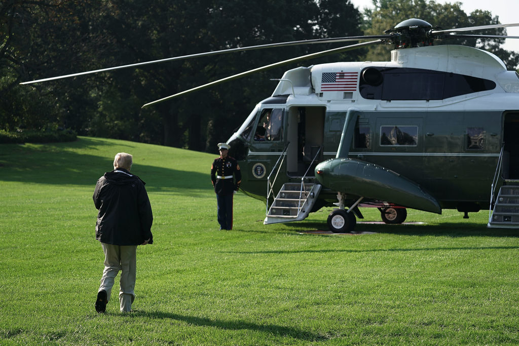 Trump walks toward Marine one